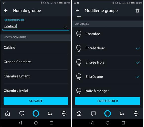 Tutoriel partie 3 sur les groupes d'ampoules sur l'application Alexa 2