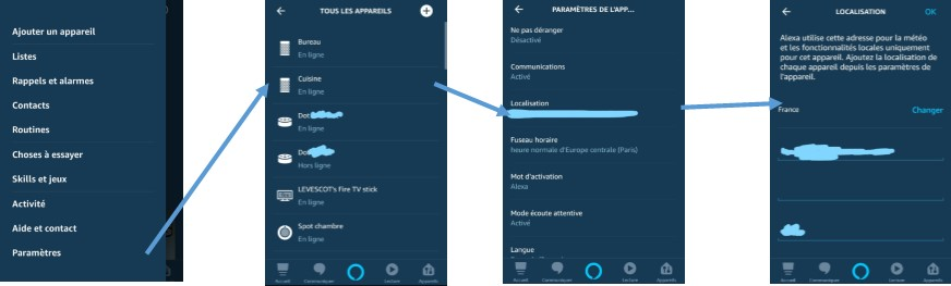 Changer adresse de Echo Spot Dot Plus Show sur l'application Alexa