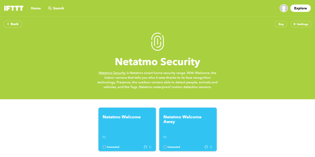 Netatmo Welcome sur IFTTT