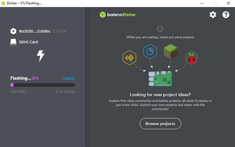 Balena Etcher flashe Home Assistant OS sur la microSD
