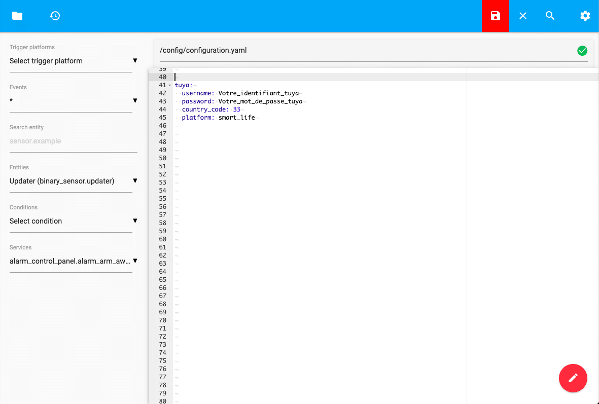 File editor  Configuration.yaml  Home Assistant