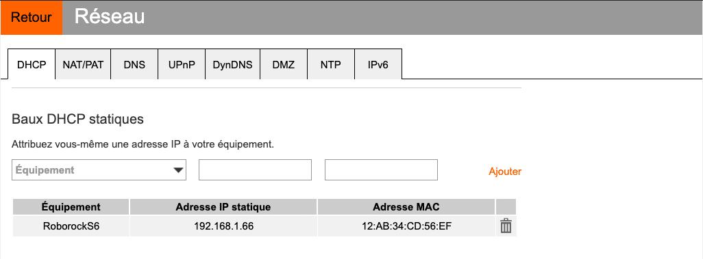 Baux DHCP statiques Aspirateur Roborock S6