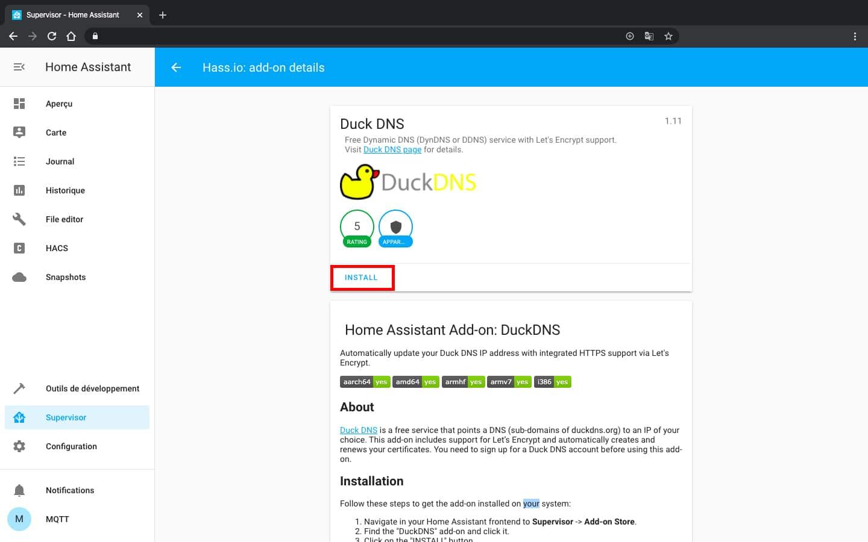 Installation de duck DNS