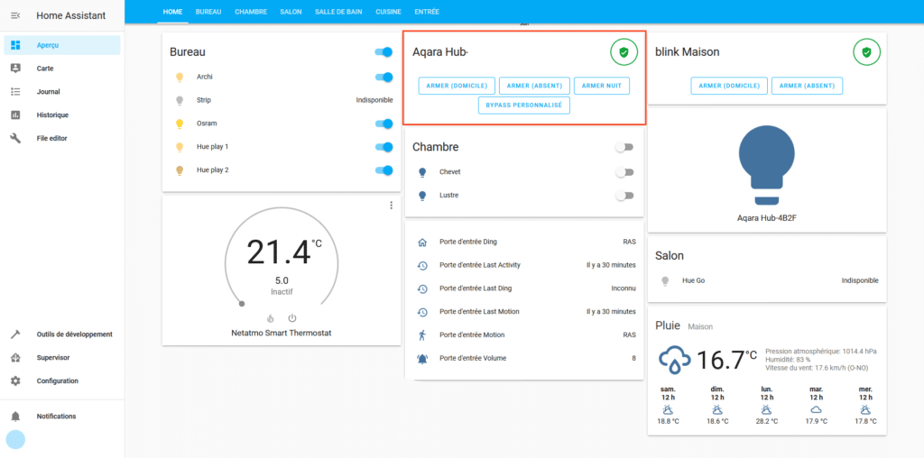 dashboard avec securite xiaomi home assistant