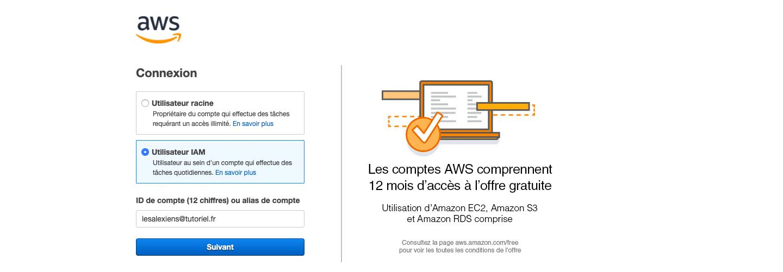 connexion console AWS