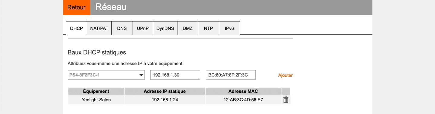 Interface de la livebox Orange pour Baux DHCP statiques