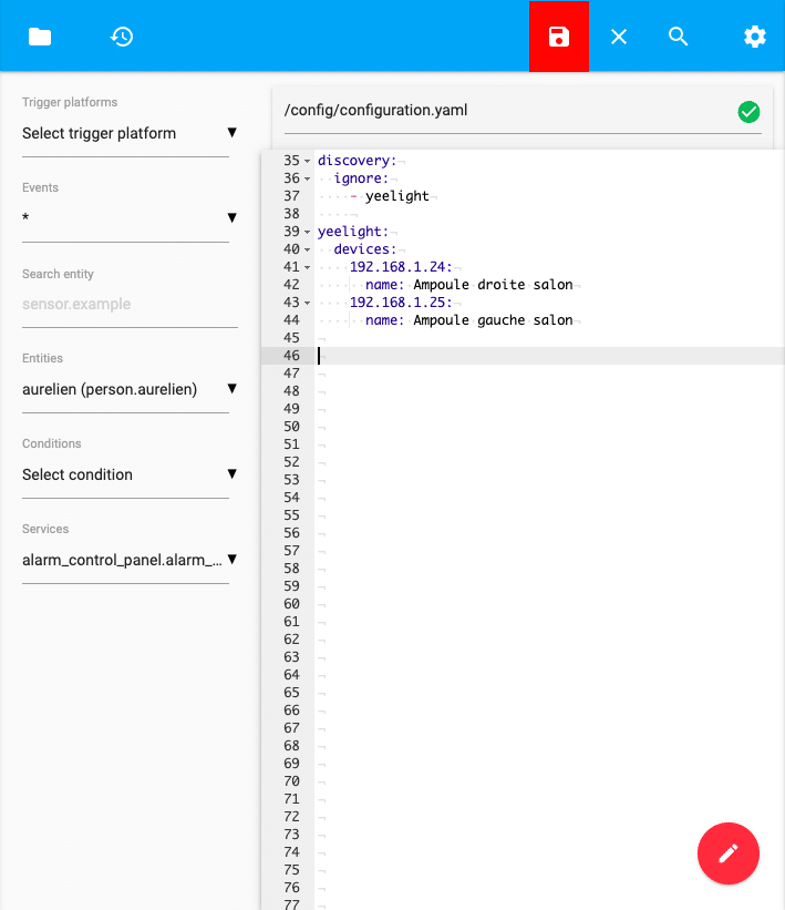 capture d'écran du fichier configuration.yaml de notre serveur home assistant avec l'intégration des ampoules yeelight