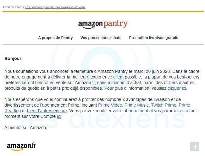Amazon annonce la fin de son service Pantry
