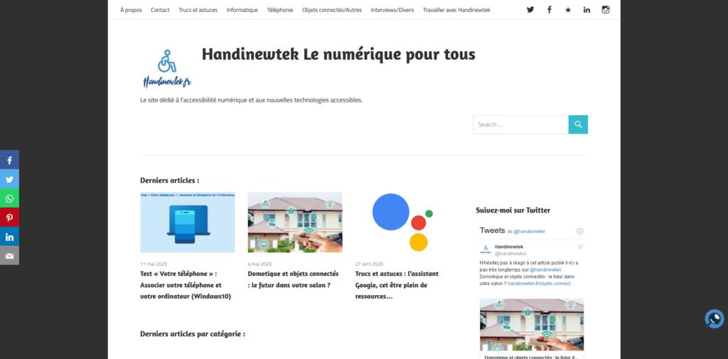 Handinewtek : un site consacré à l'actualité du numérique pour les personnes handicapées