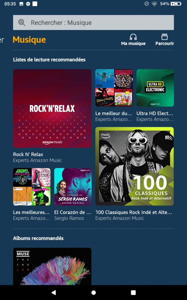 Amazon Music sur Fire HD 8 avec Alexa
