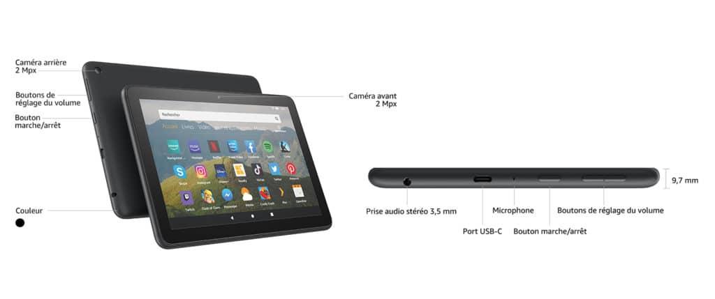 Caractéristiques techniques de la tablette Fire HD 8 d'Amazon
