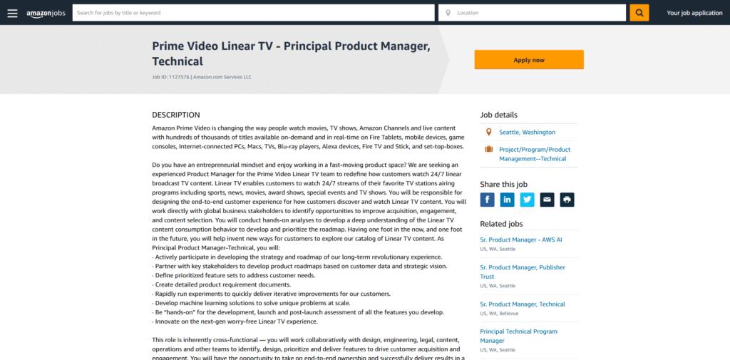 Amazon recrute pour la télévision en direct sur Prime Video