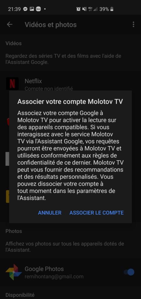 Associer son compte Molotov à Google Nest Hub