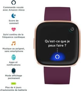 Montre connectée Fitbit Versa 2 compatible avec l'assistant vocal Alexa sans haut-parleur avec bracelet exclusif de couleur mauve pour Amazon