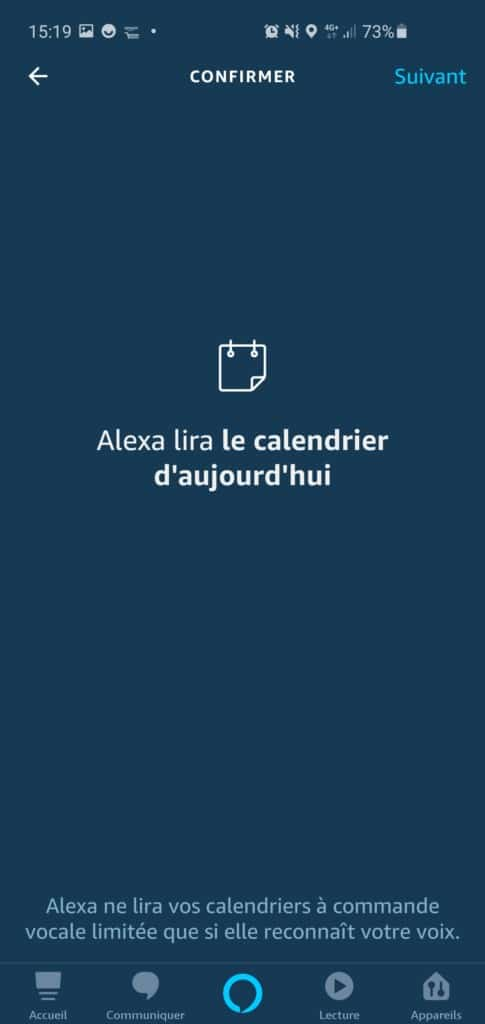 Calendrier Alexa dans les routines