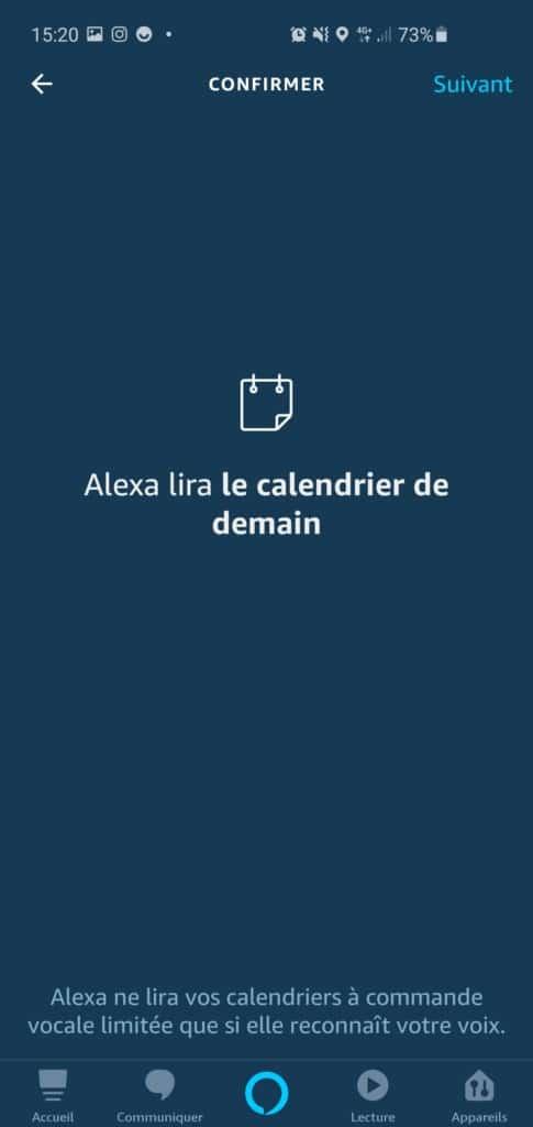 Alexa peut lire votre calendrier