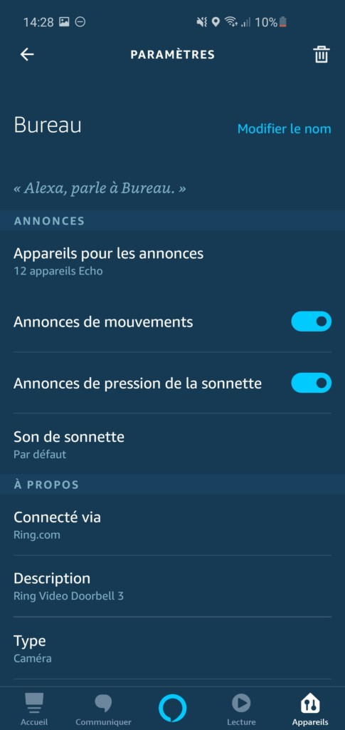 Paramètres Ring dans Amazon Alexa
