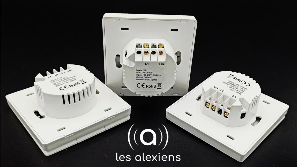 Trois interrupteurs connectés ZigBee sans neutre