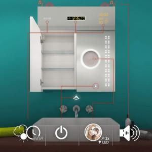 armoire de toilette 2 portes avec miroir lumineux et fonction Bluetooth dimension 66 cm de largeur et 72 cm de hauteur