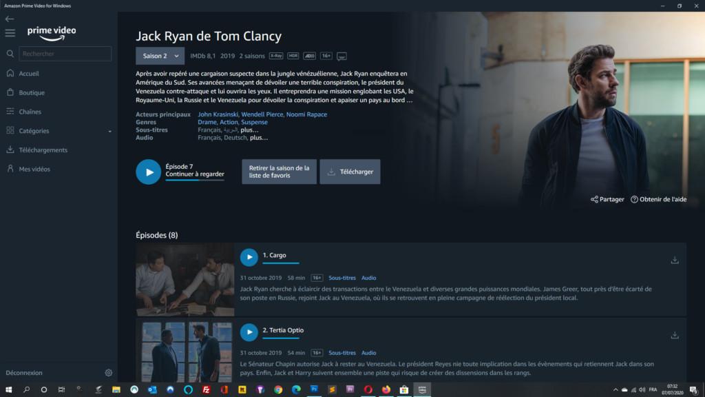 Fiche Jack Ryan sur Amazon Prime Video