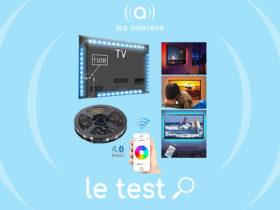 Ruban à LED avec Bluetooth APP, 4 x 0,5 m USB Rétroéclairage TV Bande LED Lumineuse RGB Multicolore Contrôlé par Téléphone intelligent pour 40-60in HDTV, moniteur et décoration de DIY