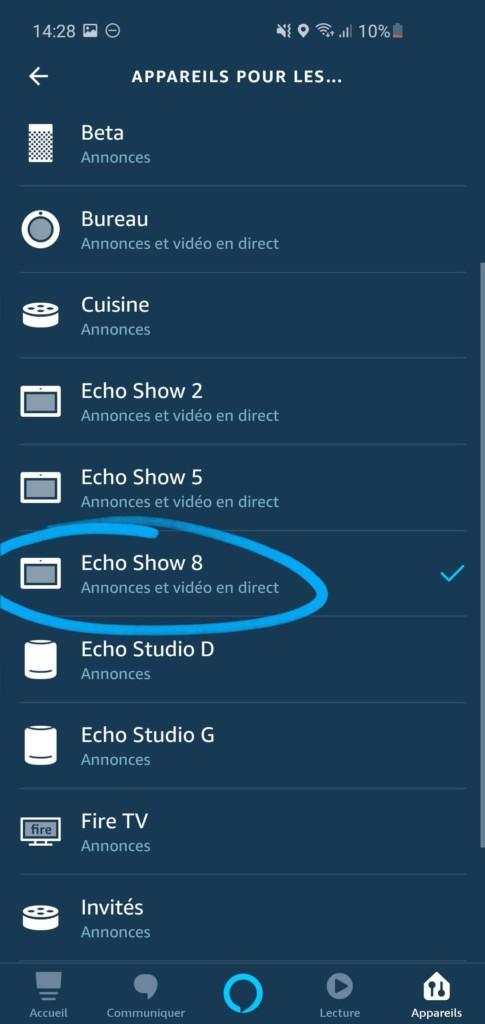 Affichage automatique de Ring sur Amazon Echo Show
