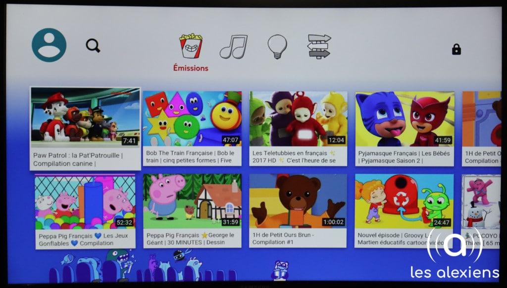 YouTube Kids sur un Fire TV 4K