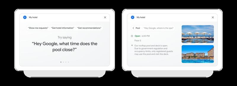 Panel Google Assistant pour les hôtels