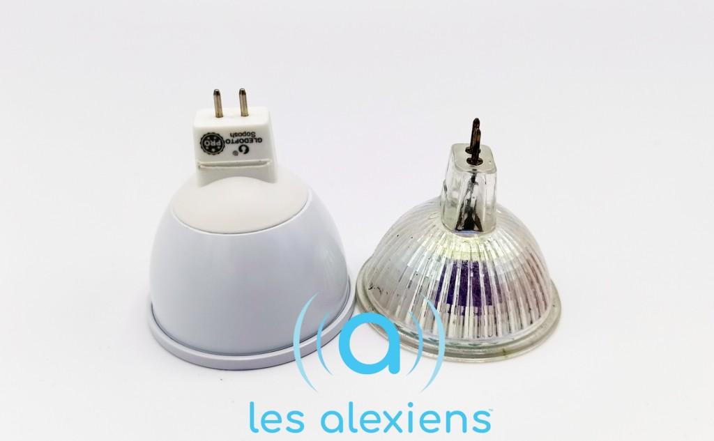 Comparaison de taille GLEDOPTO MR16 vs ampoule GU5.3 classique