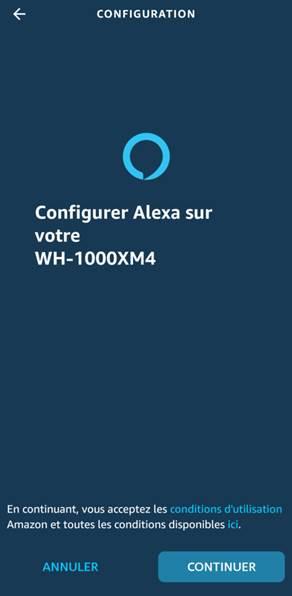Configuration du WH-1000XM4 dans Amazon Alexa
