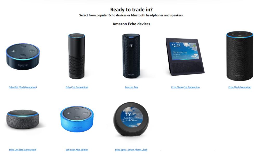 Les enceintes Amazon Echo éligibles