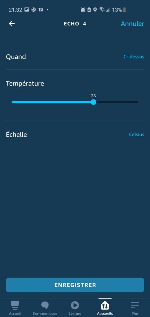 Réglage de la température Amazon Echo 4