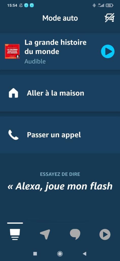 L'onglet communication du mode Auto dans Amazon Alexa
