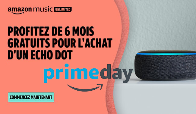 Echo Dot 3 + 6 mois gratuits à Amazon Music