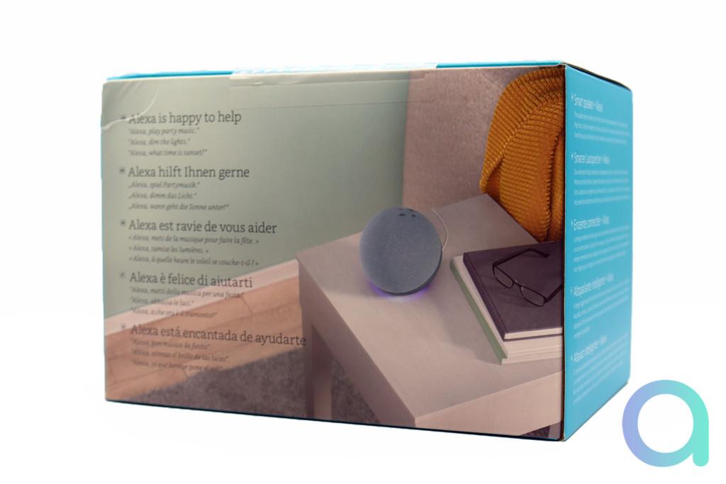 L'arrière du packaging du nouvel Echo 4 d'Amazon avec Alexa