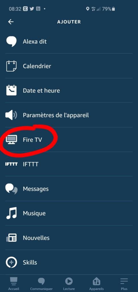 Sélectionner Fire TV dans les routines