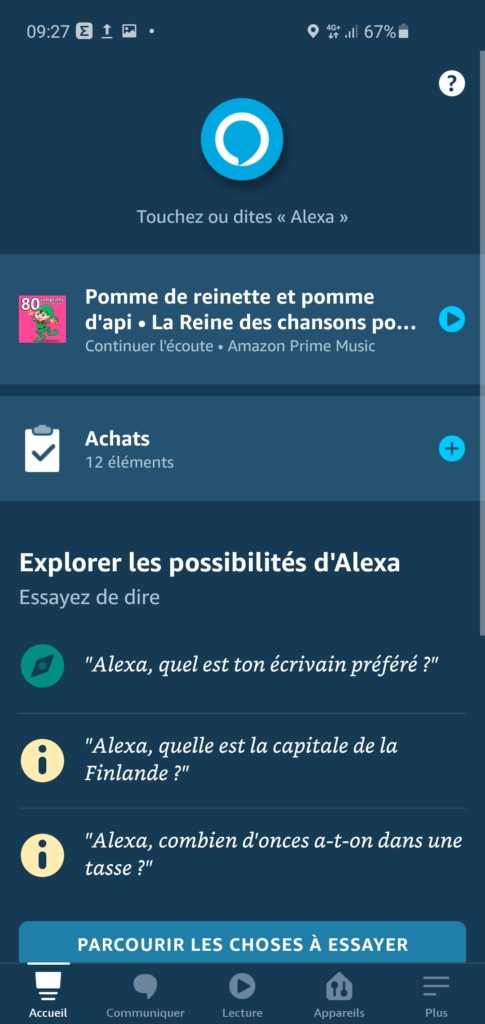 L'accueil de l'application Alexa