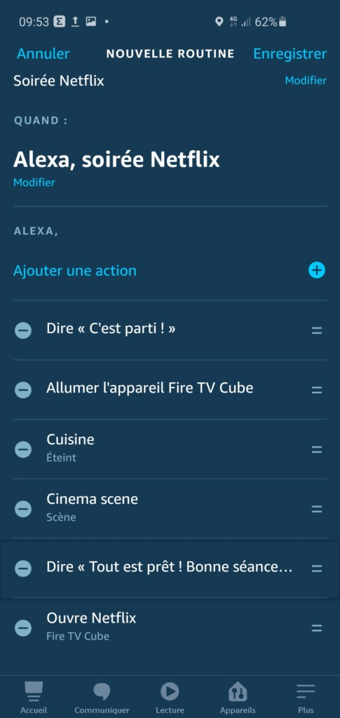 Exemple de routines Fire TV dans l'application Alexa