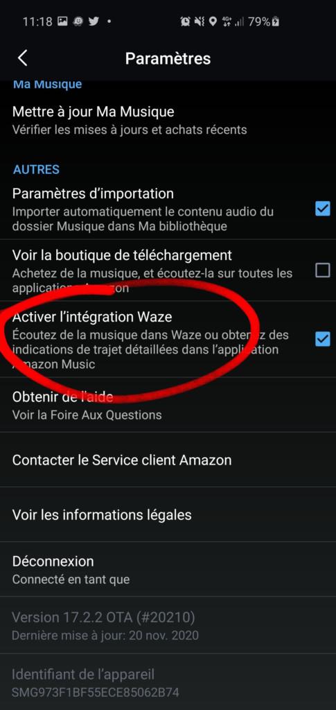 Activer l'intégration Waze dans l'application Amazon Music