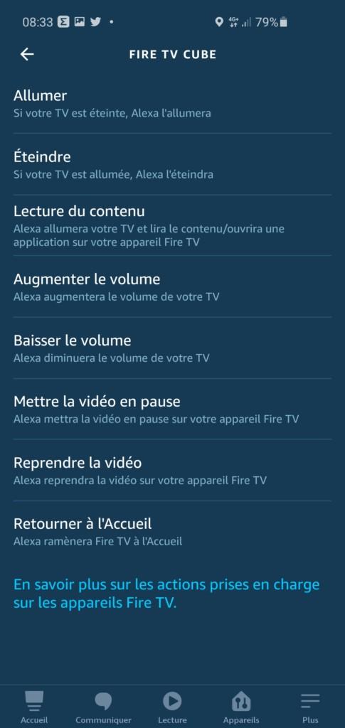 Les commandes du Fire TV Cube dans les routines Alexa