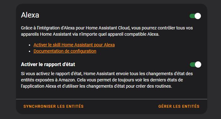 Alexa dans Home Assistant