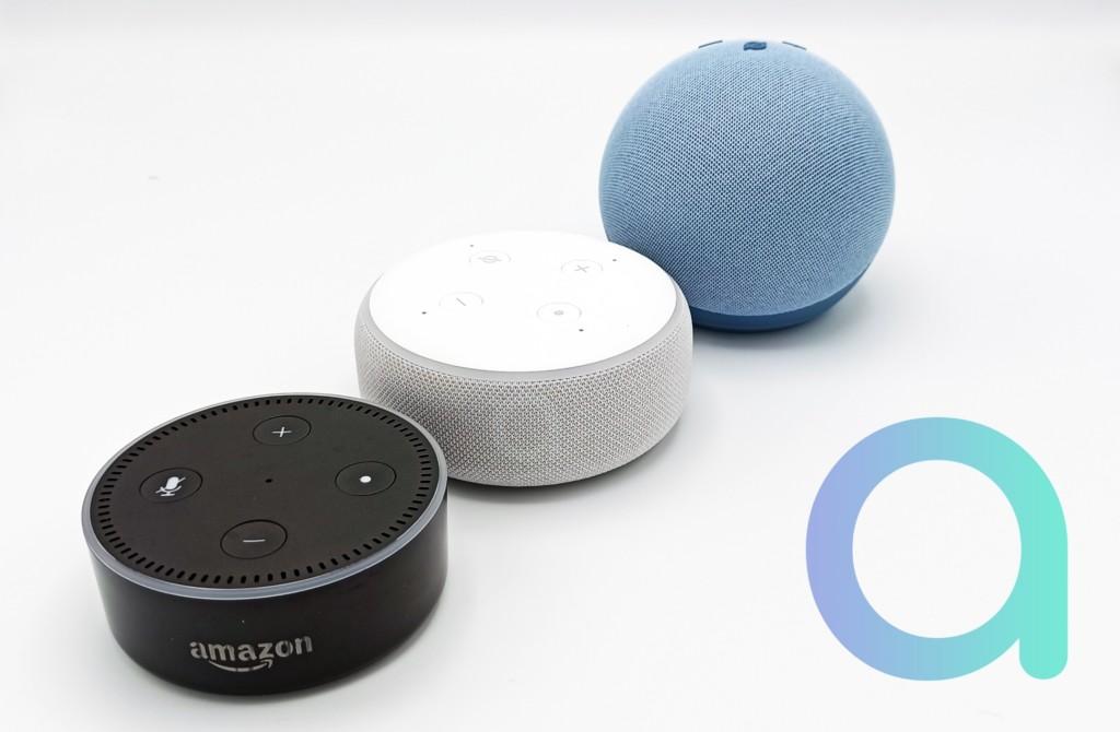 Les trois dernières générations Amazon Echo Dot