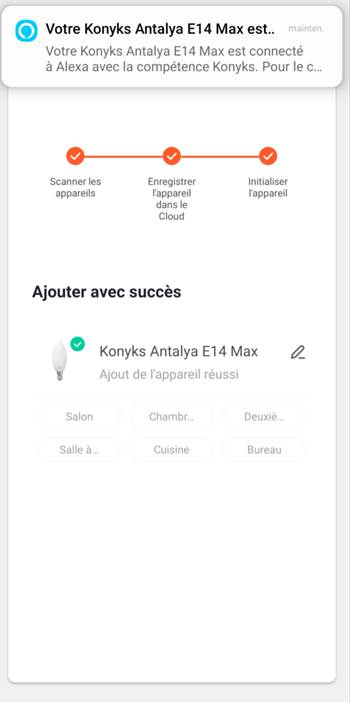 Installation de l'ampoule Konyks Antalya E14 Max Easy avec l'application