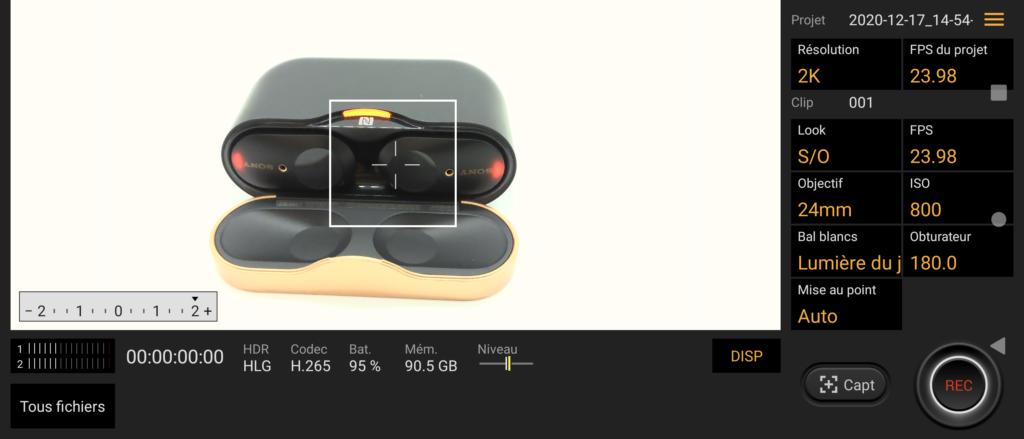 L'application Cinéma Pro de Sony