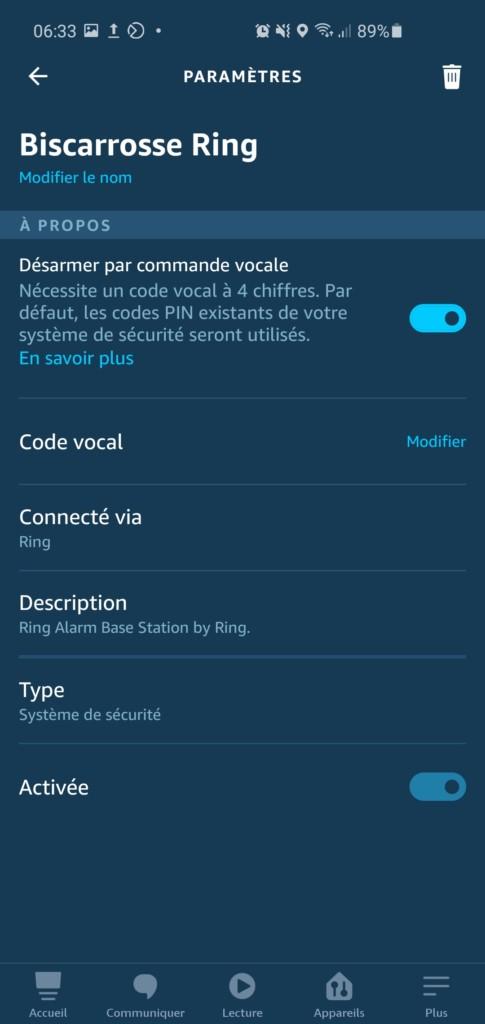 La Basr Ring Alarm dans l'application Alexa