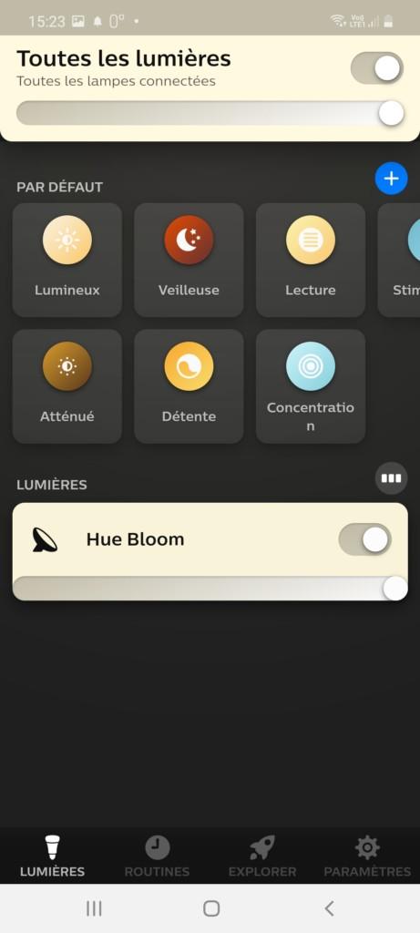 Appelation Hue Bloom après nouvelle installation dans l'application Hue Bluetooth et affichage du choix de blanc