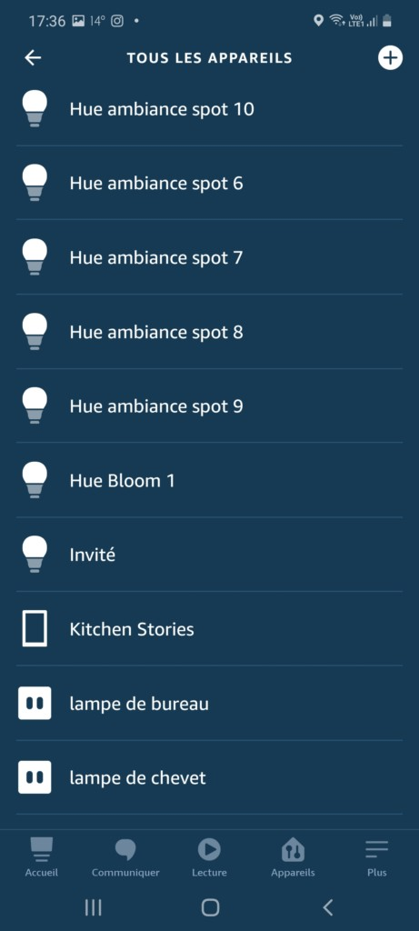 Philips Hue Bloom dans application Alexa via pont Hue