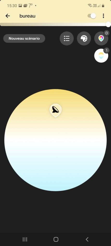 page de réglage du blanc froid au blanc chaud (2000 Kelvin à 6500 Kelvin)