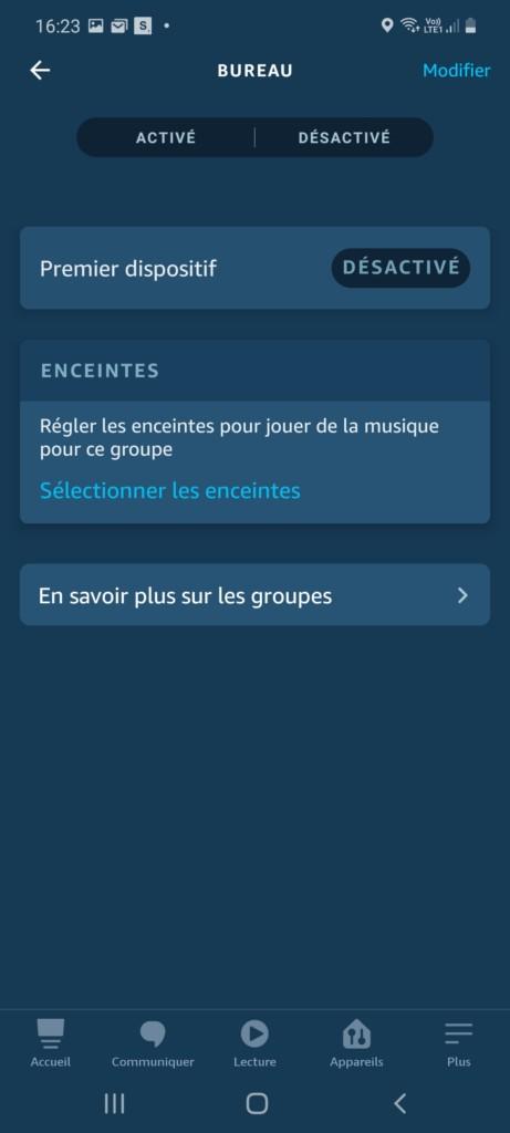 Création du groupe bureau dans l'application Alexa pour création routine