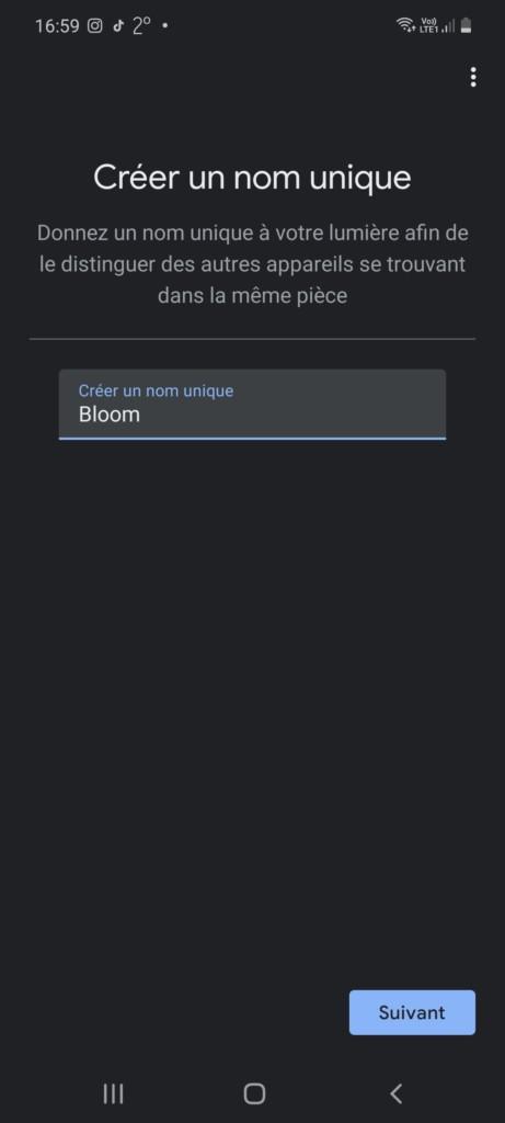 Titrage de la lampe dans l'application Google Home